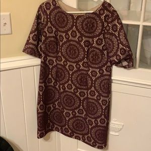 Burgundy and tan lace dress!!